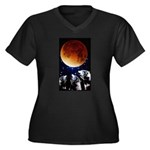 Three Wolf Moon Women's Plus Size V-Neck Dark T-Sh