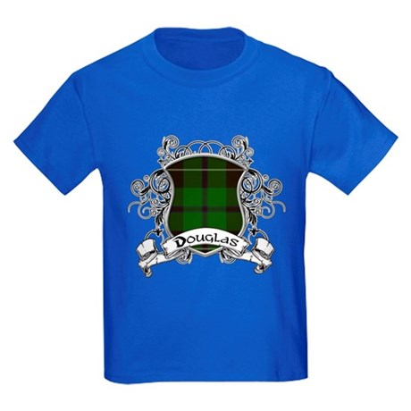 Douglas Tartan Shield Kids Dark T-Shirt