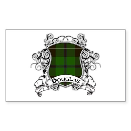 Douglas Tartan Shield Sticker (Rectangle)