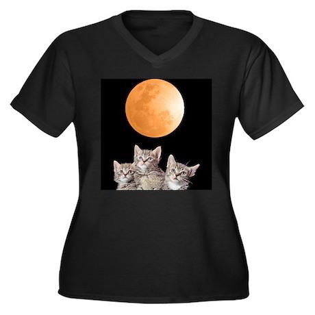 Three Kitten Moon Women's Plus Size V-Neck Dark T-