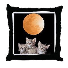 Three Kitten Moon Throw Pillow