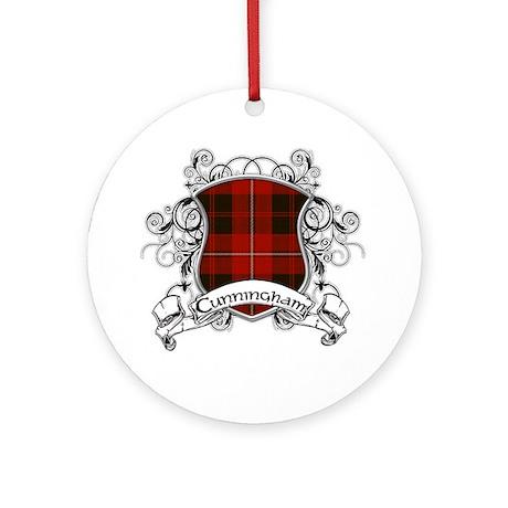 Cunningham Tartan Shield Ornament (Round)