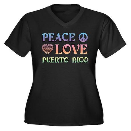 Peace Love Puerto Rico Women's Plus Size V-Neck Da