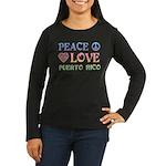 Peace Love Puerto Rico Women's Long Sleeve Dark T-