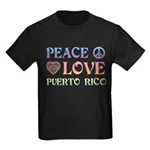 Peace Love Puerto Rico Kids Dark T-Shirt