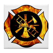 Flaming Maltese Cross Tile Coaster