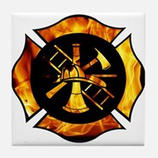 Flaming Maltese Cross Tile Coaster