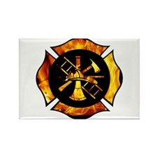 Flaming Maltese Cross Rectangle Magnet