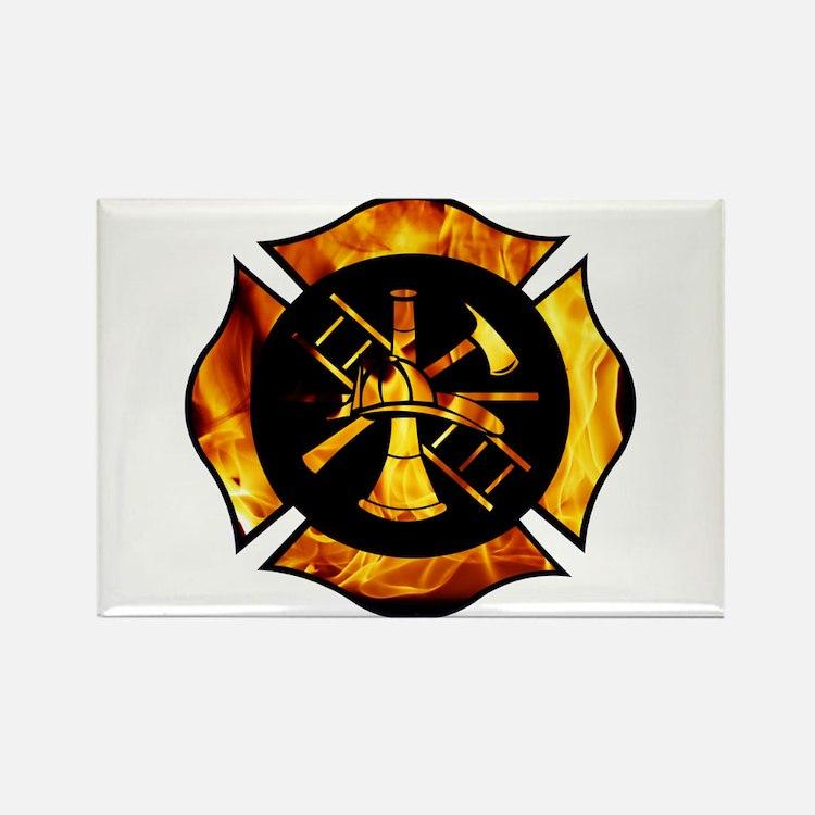 Flaming Maltese Cross Rectangle Magnet