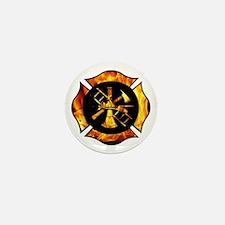 Flaming Maltese Cross Mini Button