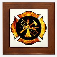 Flaming Maltese Cross Framed Tile