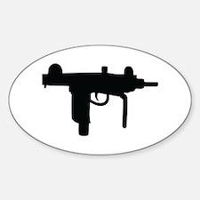uzi machine gun Oval Decal