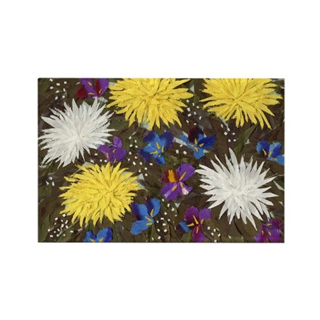 Chrysanthemums and Irises Rectangle Magnet (100 pa