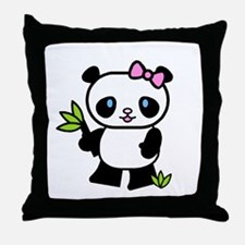 Lil' Girl Panda Throw Pillow