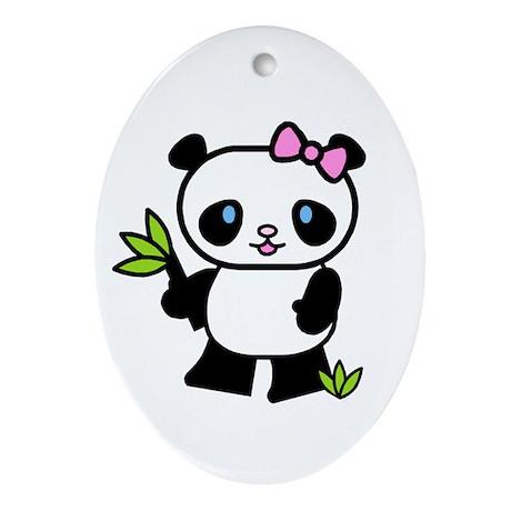 Lil' Girl Panda Oval Ornament
