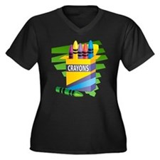 Crayons Women's Plus Size V-Neck Dark T-Shirt