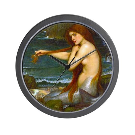 Red Haired Mermaid Wall Clock