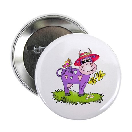 Purple Cow Red Hat Button