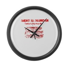 Distressed Meat is Murder 4 Large Wall Clock