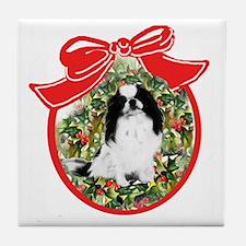 Japanese Chin Christmas Tile Coaster