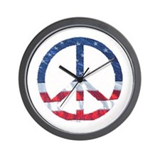 Patriotic Peace Sign: Wall Clock
