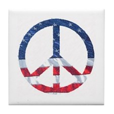 Patriotic Peace Sign: Tile Coaster