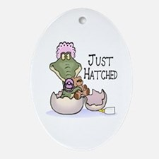 Just Hatched - Pink Oval Ornament