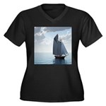 Sailing On a Boat Women's Plus Size V-Neck Dark T-