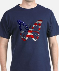 Butterfly-US Flag- T-Shirt