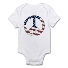 US Flag-Peace Sign-vintage lo Infant Bodysuit
