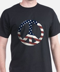 US Flag-Peace Sign-vintage lo T-Shirt