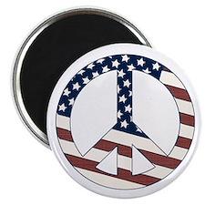 "US Flag-Peace Sign-vintage lo 2.25"" Magnet (1"