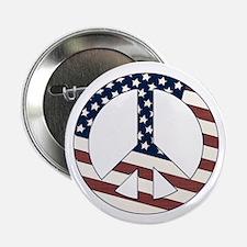 """US Flag-Peace Sign-vintage lo 2.25"""" Button (1"""