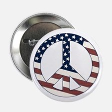 "US Flag-Peace Sign-vintage lo 2.25"" Button"