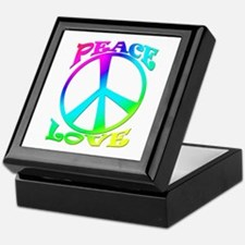 psychedelic peace sign Keepsake Box