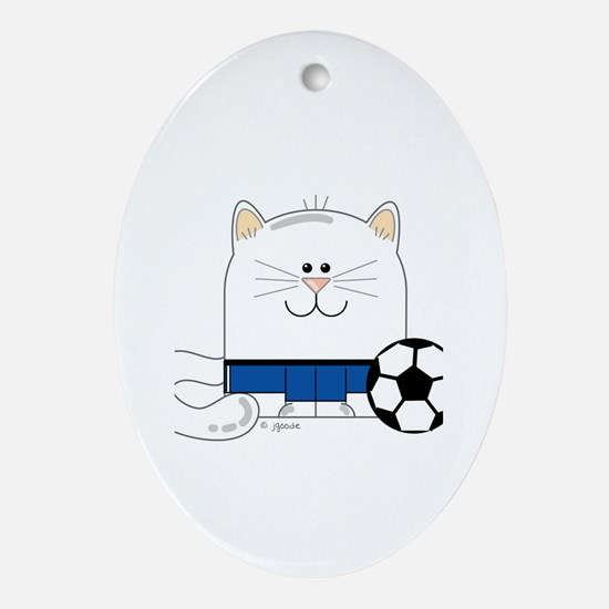 Soccer Kitty Oval Ornament
