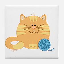 Big Orange Kitty Tile Coaster