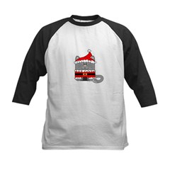 Santa Kitty Cat Kids Baseball Jersey
