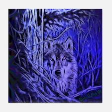 Night Warrior Wolf Tile Coaster