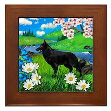 Black German Shepherd Dog Spring Framed Tile