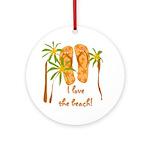 Flip Flops Beach Ornament (Round)