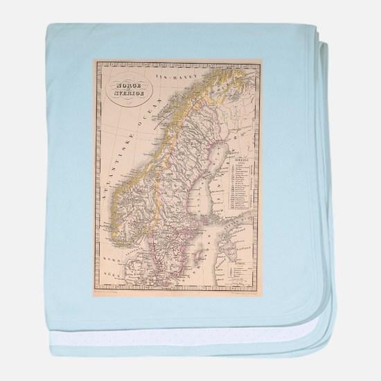 Vintage Map of Scandinavia (1857) baby blanket