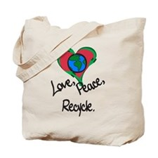 Love, Peace, Recycle Tote Bag
