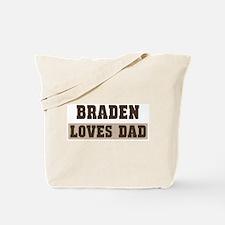Braden loves dad Tote Bag