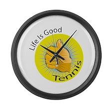 Life is Good Tennis Large Wall Clock