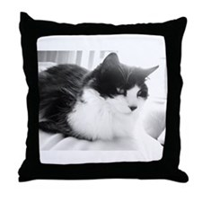 Black and White Longhaired Cat Throw Pillow