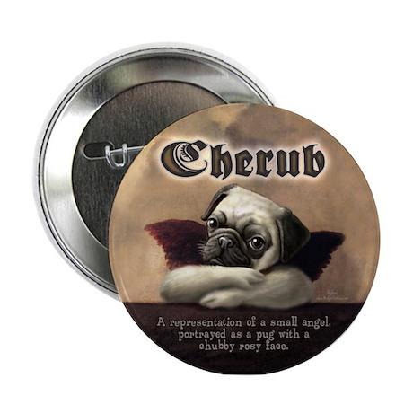 """Angelic Pug Cherubs 2.25"""" Button"""