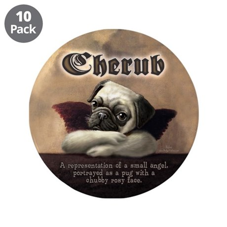 "Angelic Pug Cherubs 3.5"" Button (10 pack)"