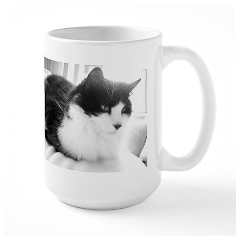Black and White Longhaired Cat Large Mug