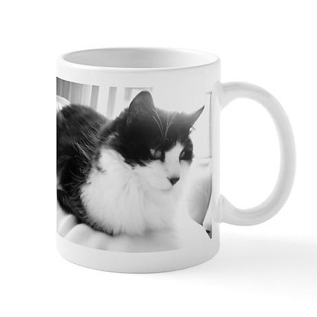 Black and White Longhaired Cat Mug